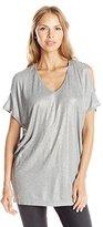 DKNY Women's Metallic Pieced Cold Shoulder Top