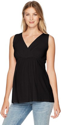 Three Seasons Maternity Women's Maternity Sleeveless Solid Surplice Top