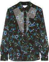 Haute Hippie Open-Back Floral-Print Silk-Chiffon Blouse