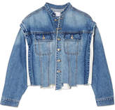 Sjyp Distressed Paneled Denim Jacket - Mid denim