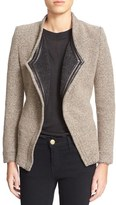 IRO 'Awa' Leather Trim Tweed Jacket