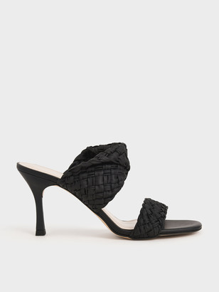 Charles & Keith Double Strap Woven Heeled Mules