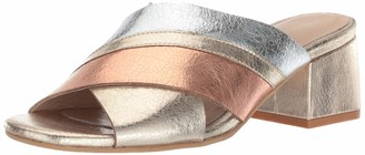 Kaanas Women's Brighton Metallic Open Toe Slide Low Block Heel Pump