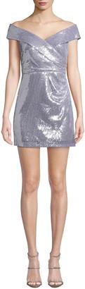 Jay X Jaygodfrey Off-the-Shoulder Sequin Mini Dress
