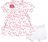 Kushies White & Pink Pretty Petals Babydoll Dress & Bloomers - Infant