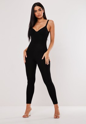 Missguided Black Jersey Bust Cup Sleeveless Jumpsuit