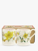 Emma Bridgewater Daffodils & Narcissus Half Pint Mugs, Set of 2, 280ml, Yellow/Multi