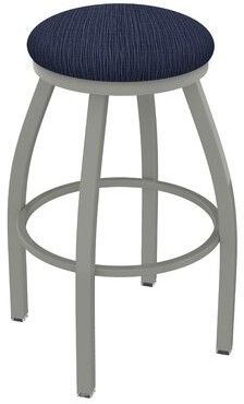 "Holland Bar Stool Misha 25"" Swivel Bar Stool with Cushion Finish: Anodized Nickel, Upholstery: Graph Anchor"