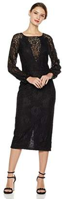 Social Graces Women's Illusion V-Neck Long Blouson Sleeve Vintage Lace Sheath Cocktail Midi Dress 4