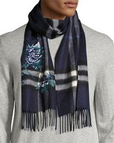Burberry Peony Flower-Embroidered Giant Check Cashmere Scarf, Indigo Blue