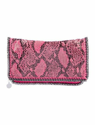 Stella McCartney Embossed Falabella Fold-Over Clutch Pink