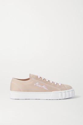Miu Miu Embroidered Canvas Sneakers - Beige