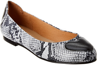 French Sole Suess Snake-Embossed Leather Flat