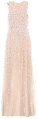 Max Mara Berg feather-trimmed bridal gown