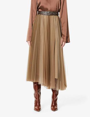 Brunello Cucinelli Belted pleated tulle midi skirt