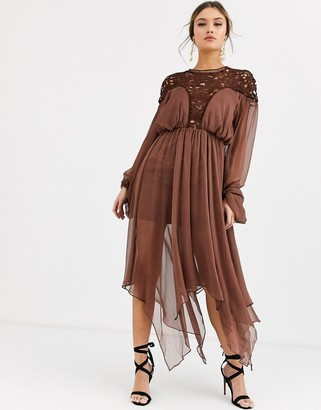 Asos DESIGN midi dress with blouson sleeve and lace bodice