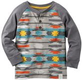 Carter's Boys 4-8 Colorblock Geo-Print Long Sleeve Henley Tee