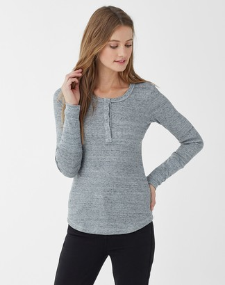 Splendid Thermal Henley Long Sleeve Top Heather Grey