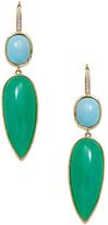 Ila Pavia 14K Yellow Gold, Chrysoprase, Turquoise & 0.07 Total Ct. Diamond Drop Earrings
