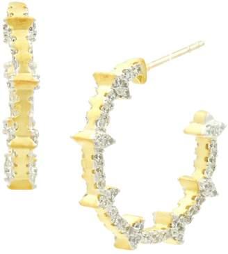Freida Rothman Fleur Bloom Empire Sterling Silver Crystal C-Hoop Earrings