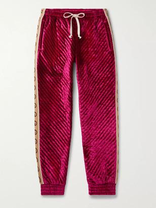 Gucci Logo-Jacquard Webbing-Trimmed Quilted Padded Velvet Sweatpants - Men - Pink