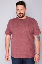 Yours Clothing BadRhino Burgundy Marl Short Sleeved Pocket T-Shirt