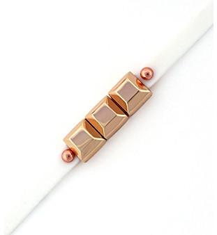 BCBGeneration BCBGenerationTM White and Rose Goldtone Mini Charm Rubber Bracelet