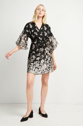 French Connection Elsie Satin Devore Wrap Dress