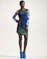 Mixed-Print Cutout Dress