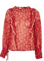 Topshop Floral bouquet lace trim top