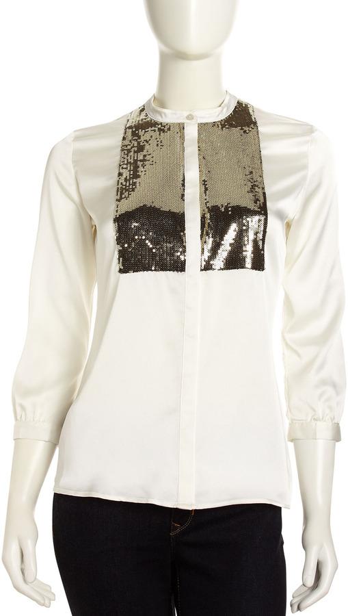 PJK Buttoned Sequin-Bib Blouse