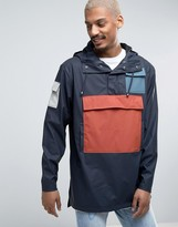 Rains Camp Anorak Overhead Jacket Waterproof Block Colors in Navy