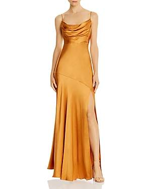 Fame & Partners Maya Cowl Neck Satin Gown