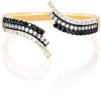 Ef Collection 14K Yellow Gold Willow Fade Pave Set Black & White Diamond Open Bypass Ring - Size 6