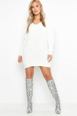 boohoo Plus V Neck Sweater Mini Dress