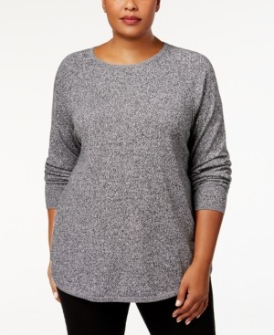 Karen Scott Plus Size Curved-Hem Pullover Sweater, Created for Macy's