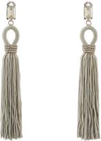 Oscar de la Renta Crystal-embellished tassel-drop clip-on earrings