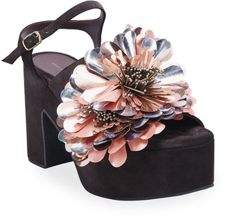 Dries Van Noten Metallic Floral Suede Sandals