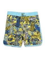 Little Marc Jacobs Surf Shorts w/ Leopard Graphics, Yellow/Blue, Size 6-8