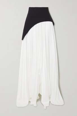 SOLACE London Leila Asymmetric Paneled Crepe And Pleated Crepe De Chine Maxi Skirt - White
