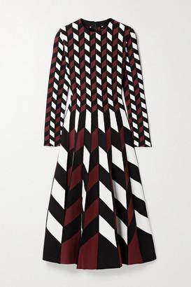 Oscar de la Renta Pleated Jacquard-knit Midi Dress - Black