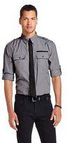 Men's Dress Shirt Tie Set Grey and Black Tie - No Retreat