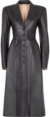 Fendi Single Breasted Leather Coat