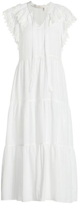 See by Chloe Embellished Cotton Voile Midi Dress