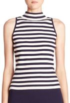 Milly Striped Sleeveless Mockneck Top