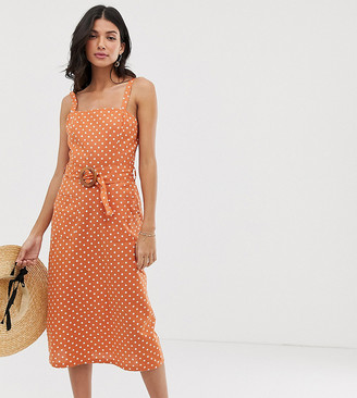 Asos DESIGN Tall square neck linen midi sundress with wooden buckle in spot