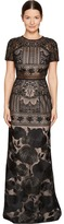 Marchesa Short Sleeve Lace Gown Women's Dress