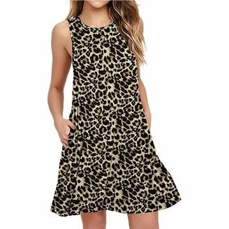 Chickwin Women's Summer Dresses Leopard Print Casual Knee Length Sleeveless Round Neck Short Sundress Beach Dresses (XL