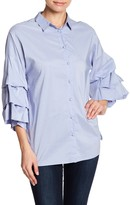 Blvd Tiered Blouson Sleeve Blouse