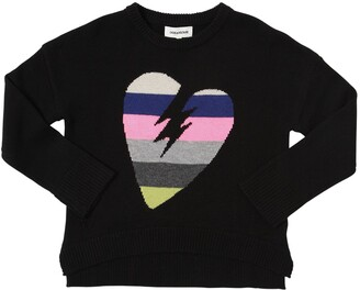 Zadig & Voltaire Heart Intarsia Wool Blend Knit Sweater